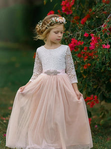 A Line Scoop Pink Lace Tulle Long Sleeves Open Back Flower Girl Dresses
