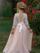 Sweep Train Pink Flower Girl Dresses
