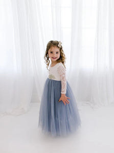 A Line Scoop White Lace Dusty Blue Long Sleeve Flower Girl Dresses