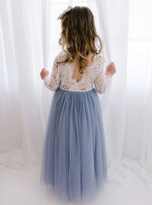 Open Back Blue Floor Length Flower Girl Dresses