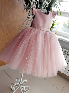 Ball Gown Pink Tulle Pearl Bowknot Flower Girl Dresses