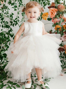A Line Scoop Ivory Asymmetrical Tulle Flower Girl Dresses