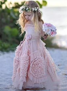 A Line Halter Lace Up Pink Lace Flower Girl Dresses