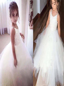Ball Gown Lace Tulle Scoop Flower Girl Dresses