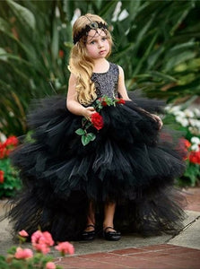Black Tulle Ball Gown Flower Girls Dresses with Sequins