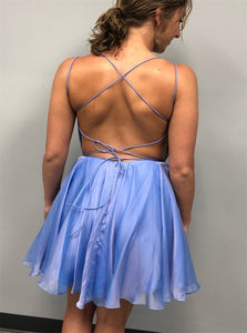 Blue Lace Up Homecoming Dresses