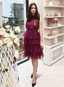 A Line Scoop Short Burgundy Knee Length Homecoming Dresses