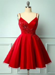 A Line Spaghetti Straps Satin Appliques Homecoming Dresses