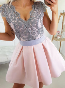 A Line Cap Sleeves Short Pink Satin Prom Dress with Gray Lace
