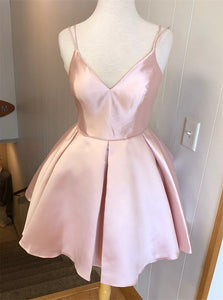 Cute A Line V Neck Pink Satin Homecoming Dresses