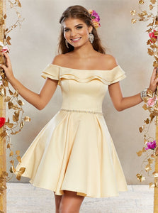 A Line Off the Shoulder Satin Beadings Homecoming Dresses