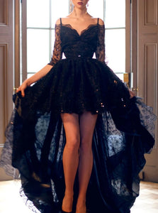 A Line Off the Shoulder Appliques High Low Black Tulle Prom Dress With Half Sleeves