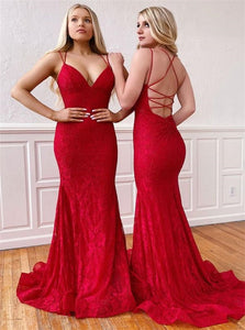 Sweep Train Red Evening Dresses