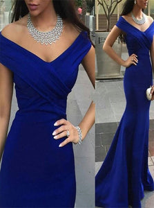 Sweep Train Blue Evening Dresses with Pleats