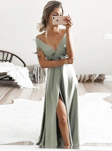 A Line V Neck Sweep Train Satin Grey Prom Dress with Slit