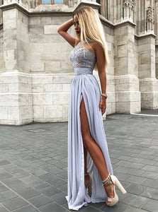 A Line Scoop Grey Sleeveless Split Chiffon Prom Dresses with Appliques