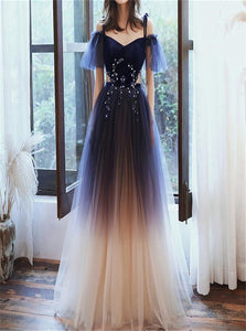 A Line Velve Tulle Champagne Straps V Neck Prom Dress with Rhinestone