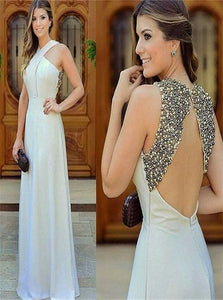 A Line Beading Satin Open Back Prom Dresses