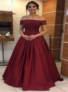 Off the Shoulder Red Lace Top A Line Satin Prom Dress with Beadings