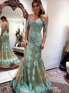 Mermaid Sweetheart Long Sleeves Tulle Appliques Criss Cross Prom Dress