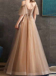 Sweep Train Champagne Evening Dresses