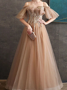 A Line Off the Shoulder Tulle Appliques Prom Dresses