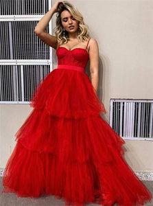 A Line Spaghetti Straps Red Tulle Ruffles Prom Dresses