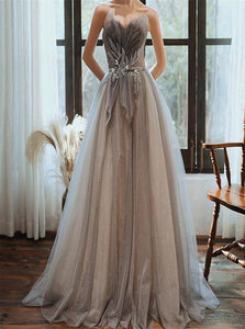 A Line Sweetheart Beadings Tulle Lace Up Grey Prom Dresses