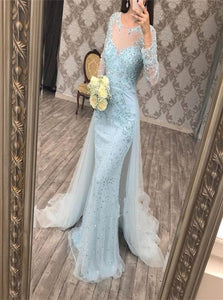 Mermaid Long Sleeves Detachable Train Tulle Prom Dresses