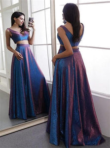 A Line Two Piece V Neck Satin Pleats Prom Dresses