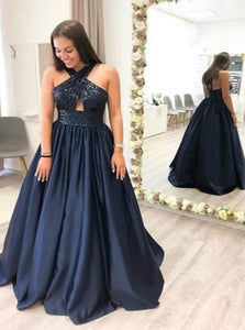 A Line Halter Dark Navy Satin Prom Dresses with Sequins