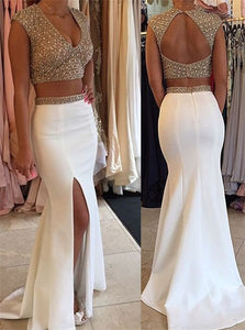 Sweep Train White Evening Dresses with Slit