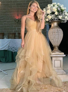 A Line Gold V Neck Tulle Prom Dress with Ruffles