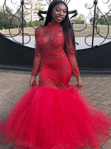 Mermaid Tulle Scoop Neck Appliques Lace Long Sleeves Prom Dresses