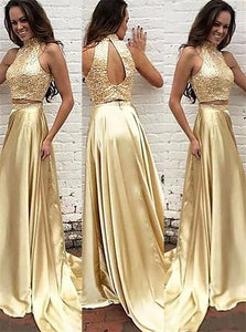 A Line High Neck Satin Open Back Beading  Prom Dresses