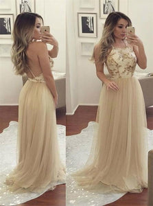 A Line Halter Tulle Long Backless Prom Dress with Sequins