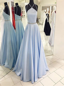 A Line Spaghetti Straps Pale Blue Satin Beadings Backless Prom Dresses