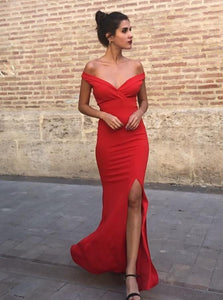 Sheath Off the Shoulder Satin Red Prom Party Dresses with Split