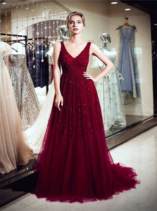 A Line V Neck Sweep Train Tulle Prom Dresses with Beaded