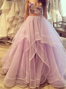 A Line Sweetheart Ruffles Tulle Appliques Prom Dresses