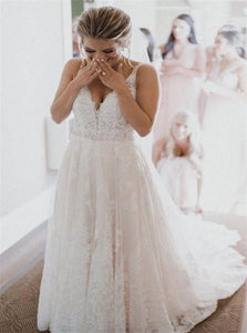 A Line V Neck Ivory Lace Appliques Beading Tulle Wedding Dresses