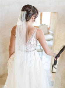 Sweep Train Ivory Open Back Wedding Dresses