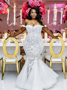 Mermaid Off the Shoulder Lace Tulle Wedding Dresses