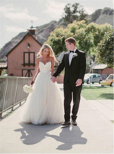 A Line Tulle Sweep Train Wedding Dresses