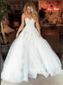 A Line Sweetheart Tulle Beading Lace Beach Wedding Dress LBQW0097