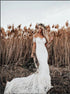 Off the Shoulder Open Back Lace Mermaid Wedding Dress LBQW0098