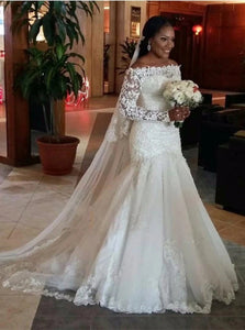 Mermaid Off the Shoulder Ivory Long Sleeves Lace Wedding Dresses