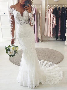 V Neck Lace Sweep Train Wedding Dresses