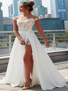 A Line Satin Sweep Train Sleeveless White Wedding Dresses