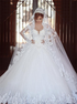 Ball Gown Long Sleeves Sweetheart Tulle Appliques Wedding Dresses LBQW0139